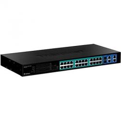 TRENDnet 24-Port 10/100 PoE MBit/s Web Smart Switch 4x Gbit Uplink 2x Mini-GBIC  Bild0