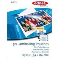 ednet 50 Laminating Pouches Business Card 125 mic. (54 x 86 mm)