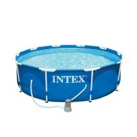 INTEX 28202 Swimming Pool Metal-Frame 305 x 76 cm mit Filterpumpe blau