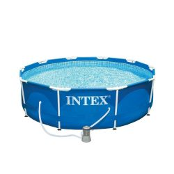 INTEX 28202 Swimming Pool Metal-Frame 305 x 76 cm mit Filterpumpe blau Bild0