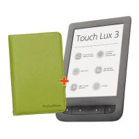 PocketBook Touch Lux 3 dark grey + Cover Gentle grün schwarz