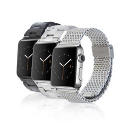 Monowear Apple Watch 42mm Maschenarmband silber, polierter Adapter  Bild0