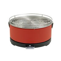 Feuerdesign MAYON 14012 Holzkohle-Tischgrill mit Grillzange rot