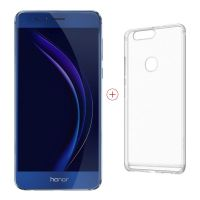 Honor 8 blue Dual-SIM Android N Smartphone + Case (transparent)