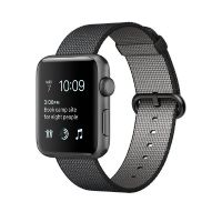 Apple Watch Series 2 38mm Aluminiumgehäuse Space Grau Armband Nylon Schwarz