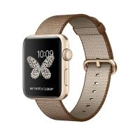 Apple Watch Series 2 42mm Aluminiumgehäuse Gold Armband Nylon Kaffee/Karamell