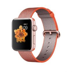 Apple Watch Series 2 42mm Aluminiumgehäuse Roségold Armband Nylon Orange/Schwarz Bild0