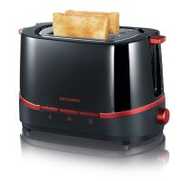 Severin AT 2292 Automatik Toaster SELECT Schwarz/Rot Metallic