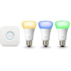 Philips Hue LED RGBW Starter Set - 3 x 10W A60 E27 mit Hue Bridge, 3. Generation Bild0
