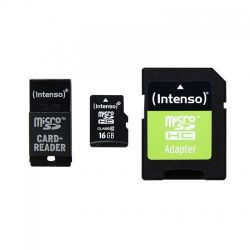 Intenso 16 GB microSDHC Speicherkarte (40 MB/s, Class 10, Adapter-Set) Bild0