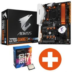 Bundle Gigabyte AORUS GA-Z270X-Gaming 5 ATX Mainboard + Intel Core i7-7700K Bild0