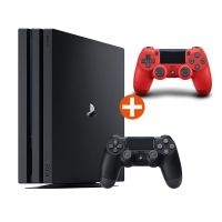 Sony PlayStation 4 Pro 1TB Konsole + 2. Dualshock 4 (2016) Controller rot