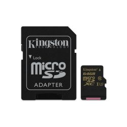 Kingston 64 GB Gold microSDHC Speicherkarte Kit (90 MB/s, Class 3, UHS-I) Bild0