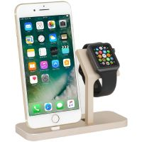 StilGut TwinDock für iPhone und Watch gold