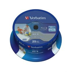 Verbatim 6x BD-R SL DL Blu-ray Disc 25GB 25er Wide Inkjet Spindel Printable Bild0