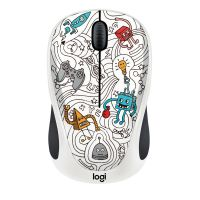 Logitech M238 Kabellose Mobile Maus Doodle Collection TECHIE WHITE 910-005053
