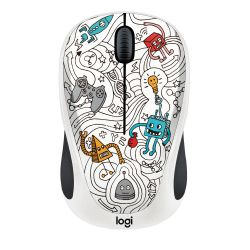 Logitech Wireless Mouse M238 Doodle Collection TECHIE WHITE Bild0