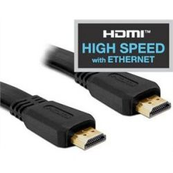 DeLOCK HDMI -High Speed with Ethernet- Flachbandkabel Gold-Stecker 3D fähig 2m Bild0