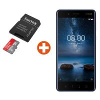 Nokia 8 64GB tempered blue inkl. SanDisk Ultra Android 64 GB microSDXC