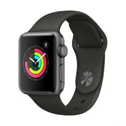 Apple Watch Series 3 GPS 38mm Aluminiumgehäuse Space Grau Sportarmband Grau Bild0
