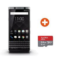 BlackBerry KEYone silber Android 7 Smartphone + SanDisk Ultra 64 GB microSDXC